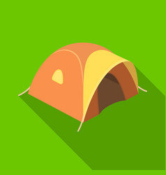 Tent tourist with awningtent single icon in flat vector