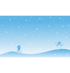 The ski at winter landscape Christmas vector
