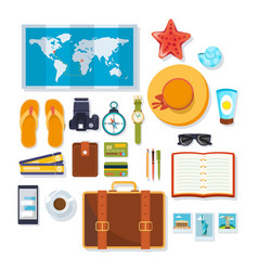 Travel rest on sea objects necessary on trip vector