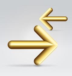Two golden arrows vector image