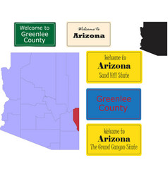 us arizona state greenlee county map and road sign vector image