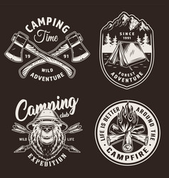 Vintage camping season badges vector