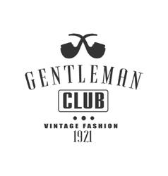 Vintage gentleman club label design vector