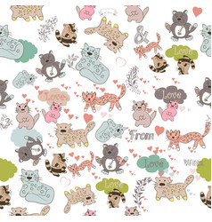 wallpaper pattern with cute colorful cats vector image