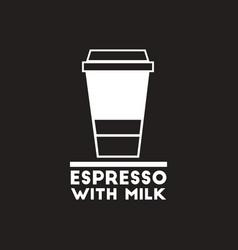 White icon on black background espresso vector