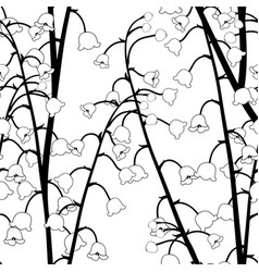 White lily of the valley outline on seamless vector
