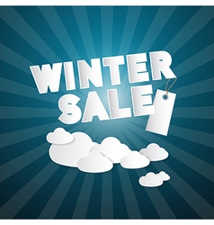 Winter Sale Title on Abstract Blue Sky Background vector