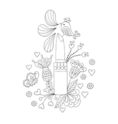womens lipstick with flowers and bird vector image vector image