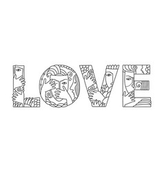 Word love of decorative letters vector