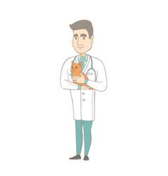 Young caucasian veterinarian with cat in hands vector