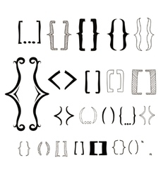 23 different hand drawn brackets Bracket icons vector image