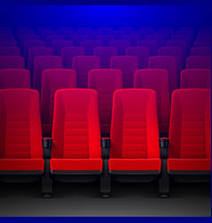 movie theater with rows of red empty chairs and vector image vector image