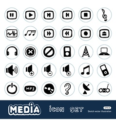 Music and media web icons set vector image vector image