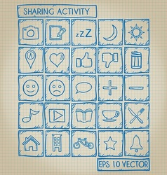 Sharing Activity Icon Doodle Set vector image vector image