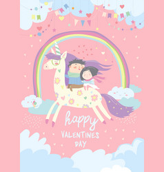 couple in love riding on unicorn vector image vector image