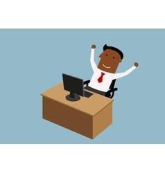 Happy cartoon businessman working in office vector image
