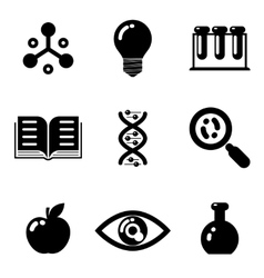 Science education research study web icons set vector image vector image