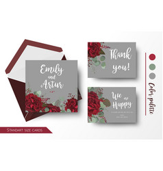 Wedding invite invitation thank you floral cards vector