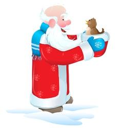 christmas santa blue bird vector image vector image