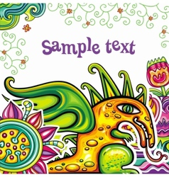 Fairy dragon floral pattern vector image vector image