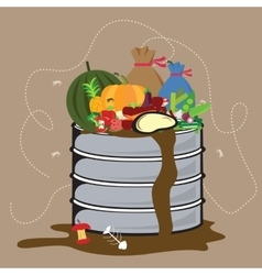 Food waste organic degradable in garbage bin with vector