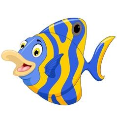 funny angel fish cartoon vector image