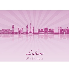 Lahore skyline in purple radiant orchid vector image