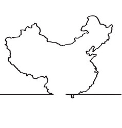 map of china continous line vector image vector image