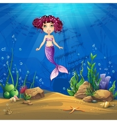 Undersea world with brunette mermaid vector image