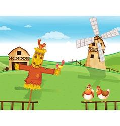 A farm with a scarecrow vector image