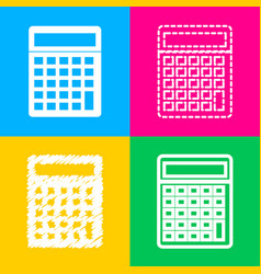 calculator simple sign four styles of icon on vector image