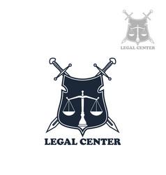 lawyer office heraldic shield badge with swords vector image