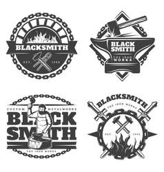 Monochrome vintage blacksmith emblems set vector