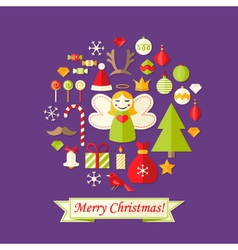 Purple Christmas Card with Flat Icons Set and vector image