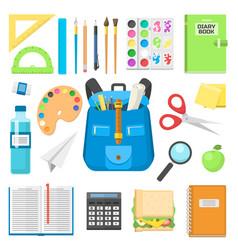 School bag backpack full of supplies children vector