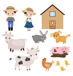 set of farm animals set of farm animals vector image