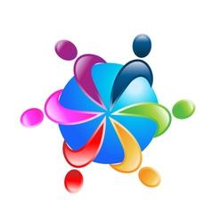 Teamwork around world logo vector image vector image