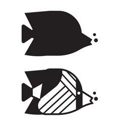 tropical fish outline icon or logo vector image vector image