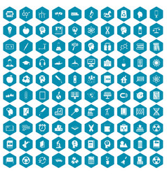 100 education icons sapphirine violet vector
