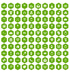 100 love icons hexagon green vector