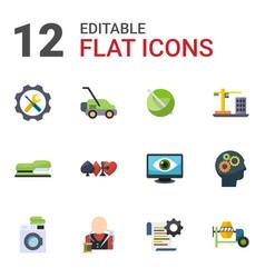 12 machine flat icons set isolated on white vector