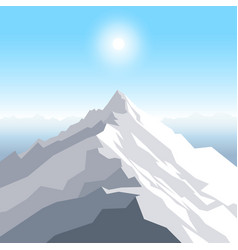 A midday sun over the mountains landscape with vector