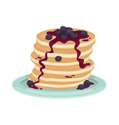 A stack fried pancake with blueberry vector