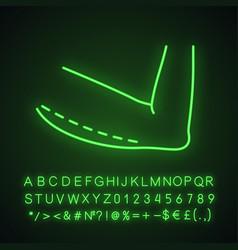 Arm lift surgery neon light icon vector