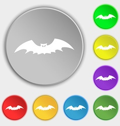 bat icon sign Symbol on five flat buttons vector image