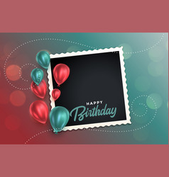 beautiful happy birthday card with balloons and vector image