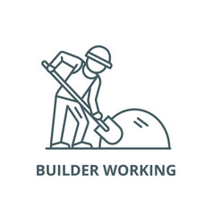 Builder working with shovel line icon vector
