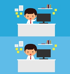 Business man works at a desk vector