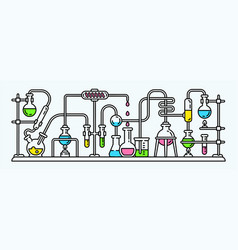 chemistry lab banner outline style vector image