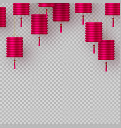 chinese lanterns in pink on transparent background vector image